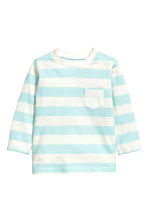 Long-sleeved T-shirt - Light turq/Striped -  | H&M 1
